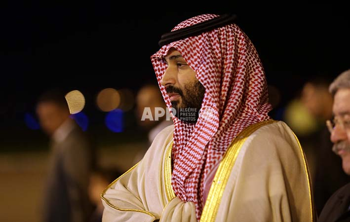 Saudi Crown Prince Mohammed Ben Salman on his arrival in Algiers on December 2, 2018. The Saudi Crown Prince is paying an official visit to Algeria for two days.